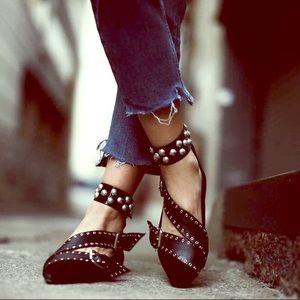 Isabel Marant Linzy Eyelet Studded Ankle Wrap Flat